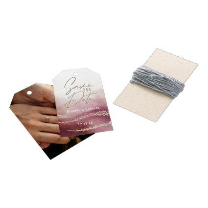 Elegant Watercolor Burgundy & Gold Save the Date Gift Tags