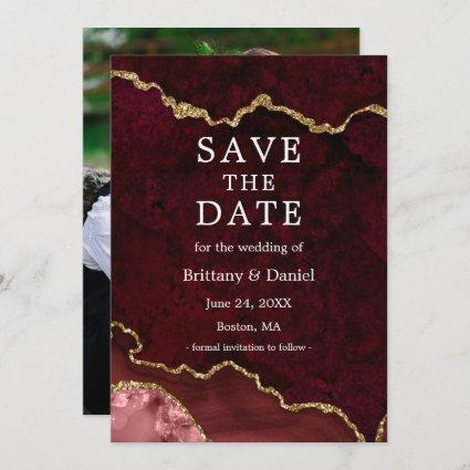 Elegant Watercolor Burgundy Marble Geode Photo Save The Date