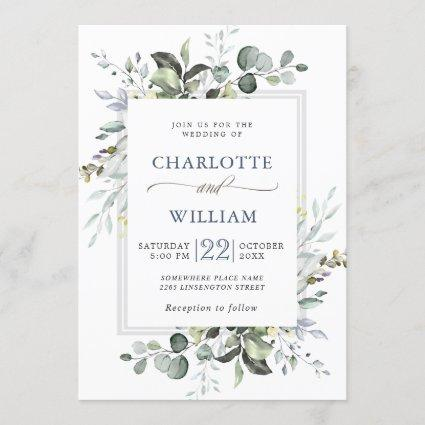 Elegant Watercolor Eucalyptus Greenery Wedding Invitation