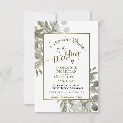 Elegant Watercolor Eucalyptus & Pine Wedding Save The Date