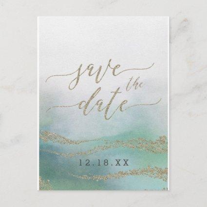Elegant Watercolor in Ocean Wedding Save the Date Announcement