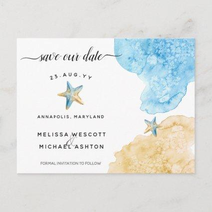 Elegant Watercolor Starfish Coastal Save Our Date Announcement