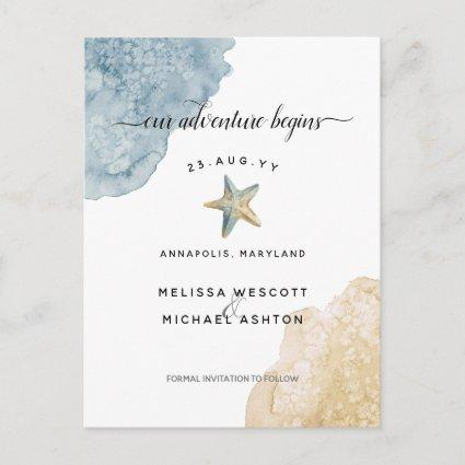 Elegant Watercolor Starfish Coastal Save The Date Announcement