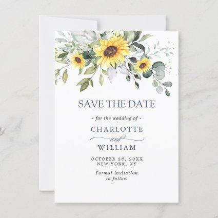 Elegant Watercolor Sunflowers Eucalyptus Wedding Save The Date