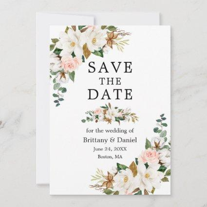 Elegant Watercolor White Magnolias Pink Roses Save The Date