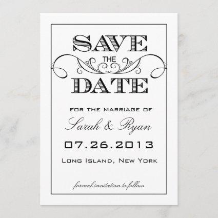 Elegant White & Black Save the Date Announcement