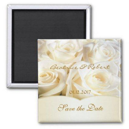 Elegant White - cream roses  Magnets