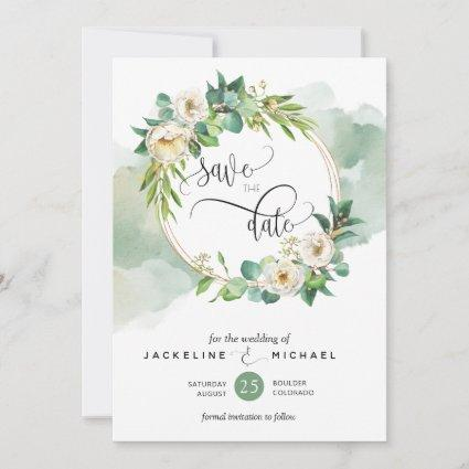 Elegant White Floral and Greenery Wedding Save The Date