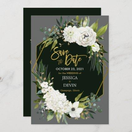 Elegant White Floral Gold Black Geometric Save The Save The Date