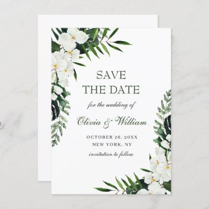 Elegant White Orchid Bohemian Greenery Wedding Save The Date