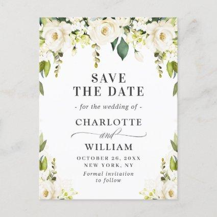 Elegant White Roses Flowers Wedding Save the Date Announcement