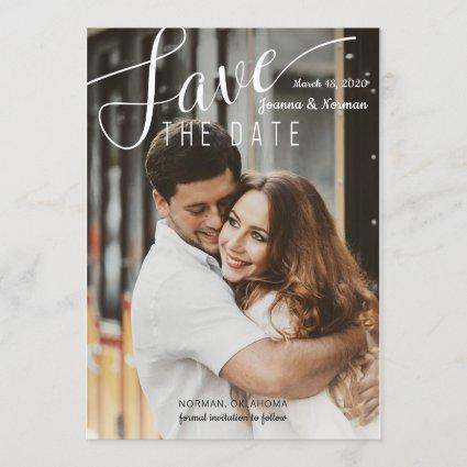 Elegant White Script Confetti Save The Date Photo