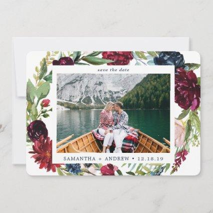 Elegant Winter Burgundy Watercolor Floral Photo Save The Date