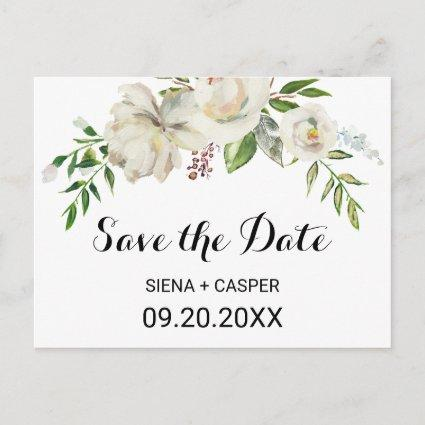 Elegant Winter White Peony Save the Date Card