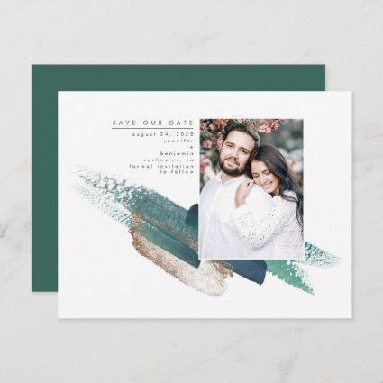 Emerald Green and Gold Modern Save the Date Photo