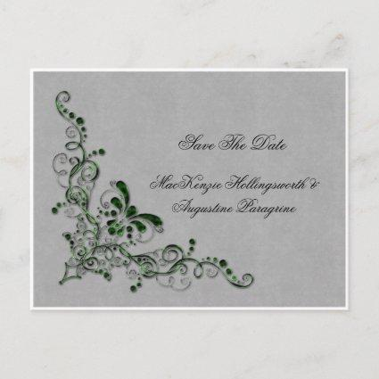 Emerald Green and Silver Enbellished Swirls Save T Announcements Cards