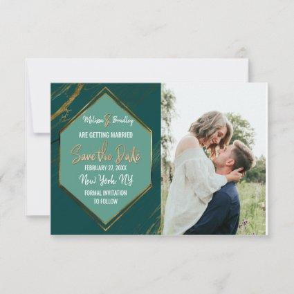 Emerald Green Gold Geometric Marble Save the Date