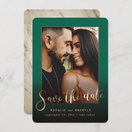 Emerald Green Gold Script & Marble Photo Overlay Save The Date