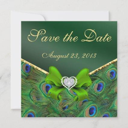 Emerald green Peacock Save the Date