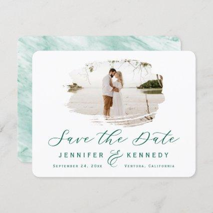 Emerald Green Romantic Brushed Frame with Photo Save The Date