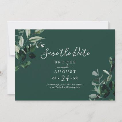 Emerald Greenery | Green Horizontal Save The Date
