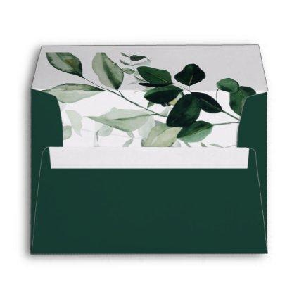 Emerald Greenery | Green Wedding Invitation Envelope