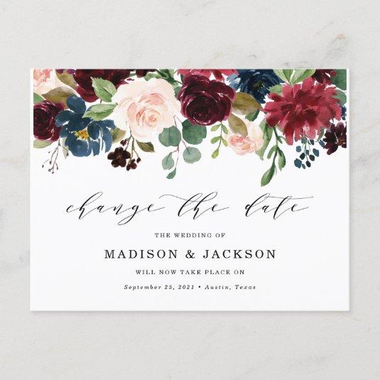 Enchanted Floral Change The Date Wedding Announcement