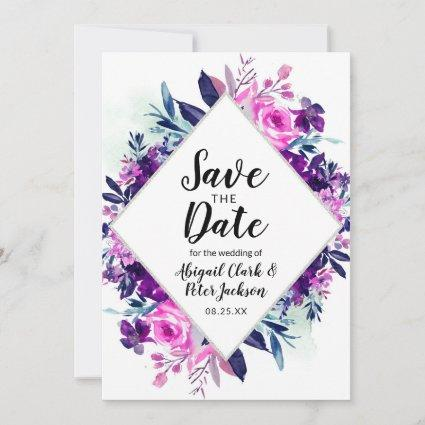 Enchanted Floral Violet Watercolor Diamond Chic Save The Date