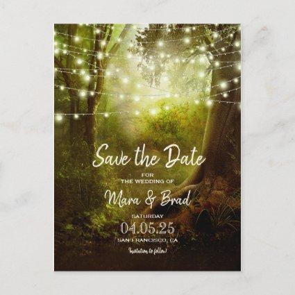 Enchanted Forest Fairy Lights Save The Date Announcement
