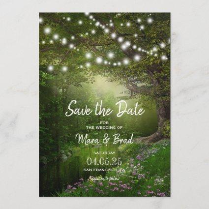 Enchanted String Lights Park Wedding Save The Date