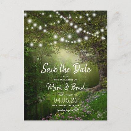 Enchanted String Lights Wedding Save The Date Announcement