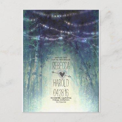 Enchated Forest String Lights Save the Date Announcement