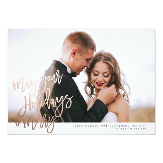Engagement Christmas Card, Save the Date Christmas Card