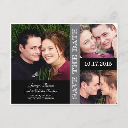 Engagement Collage Save The Date Announcement
