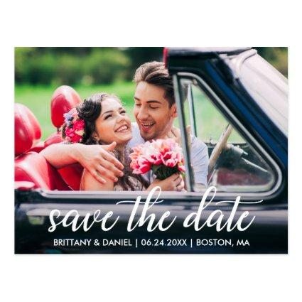 Engagement Modern Script Save The Date Photo Cards