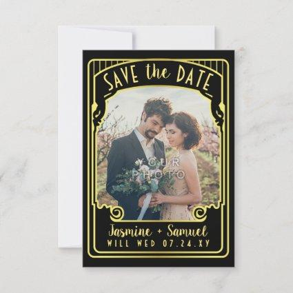 Engagement Photo | Art Deco Wedding Black Gold Save The Date