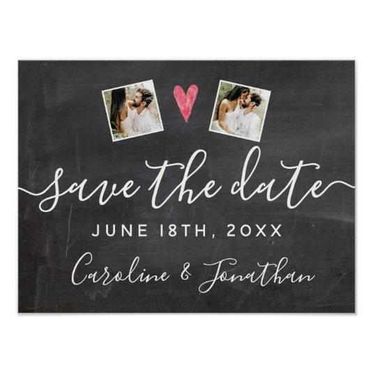 Engagement Photo Prop Chalkboard Save the Date Poster