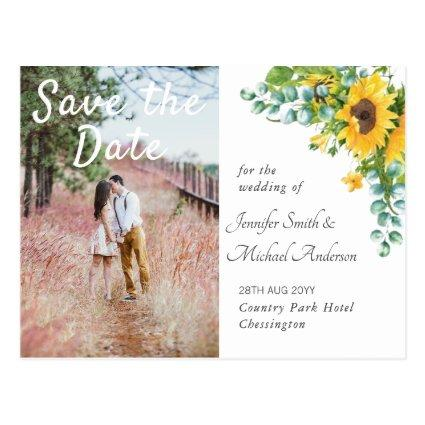 Engagement Photo Save the Date Sunflowers Wedding