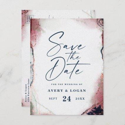 Ethereal Burgundy & Navy Wedding Save The Date Announcement