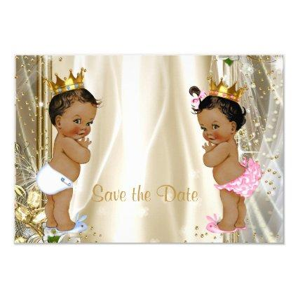 Ethnic Prince Princess Baby Shower Save The Date Cards
