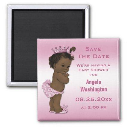 Ethnic Princess Baby Shower Save the Date Pink Magnet