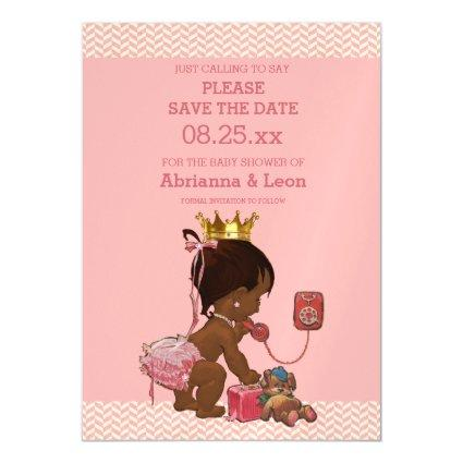 Ethnic Princess on Phone Save The Date Chevrons Magnetic Invitation