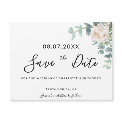 Eucaluptus floral white wedding save the date