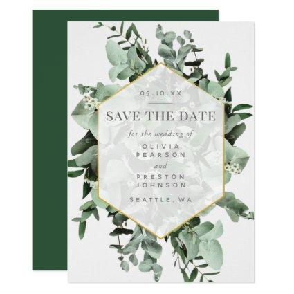 Eucalyptus and Greenery Watercolor Save the Date Invitation