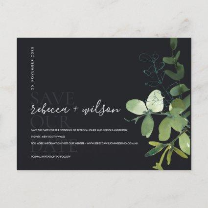 EUCALYPTUS BLACK FOLIAGE WATERCOLOR SAVE THE DATE ANNOUNCEMENT