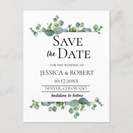 Eucalyptus Branch Wedding Save the Date