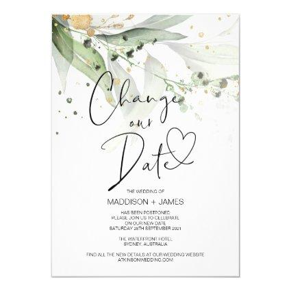 Eucalyptus Change the Date Wedding Postponed Invitation