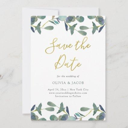 Eucalyptus Crest | Green Leaves and Faux Gold Save The Date