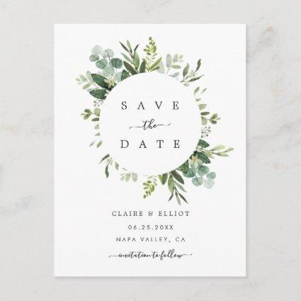 Eucalyptus Foliage Circle Frame Save the Date Announcement