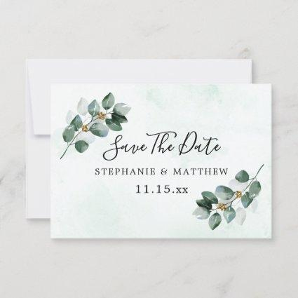 Eucalyptus Foliage Elegant Wedding Save The Date
